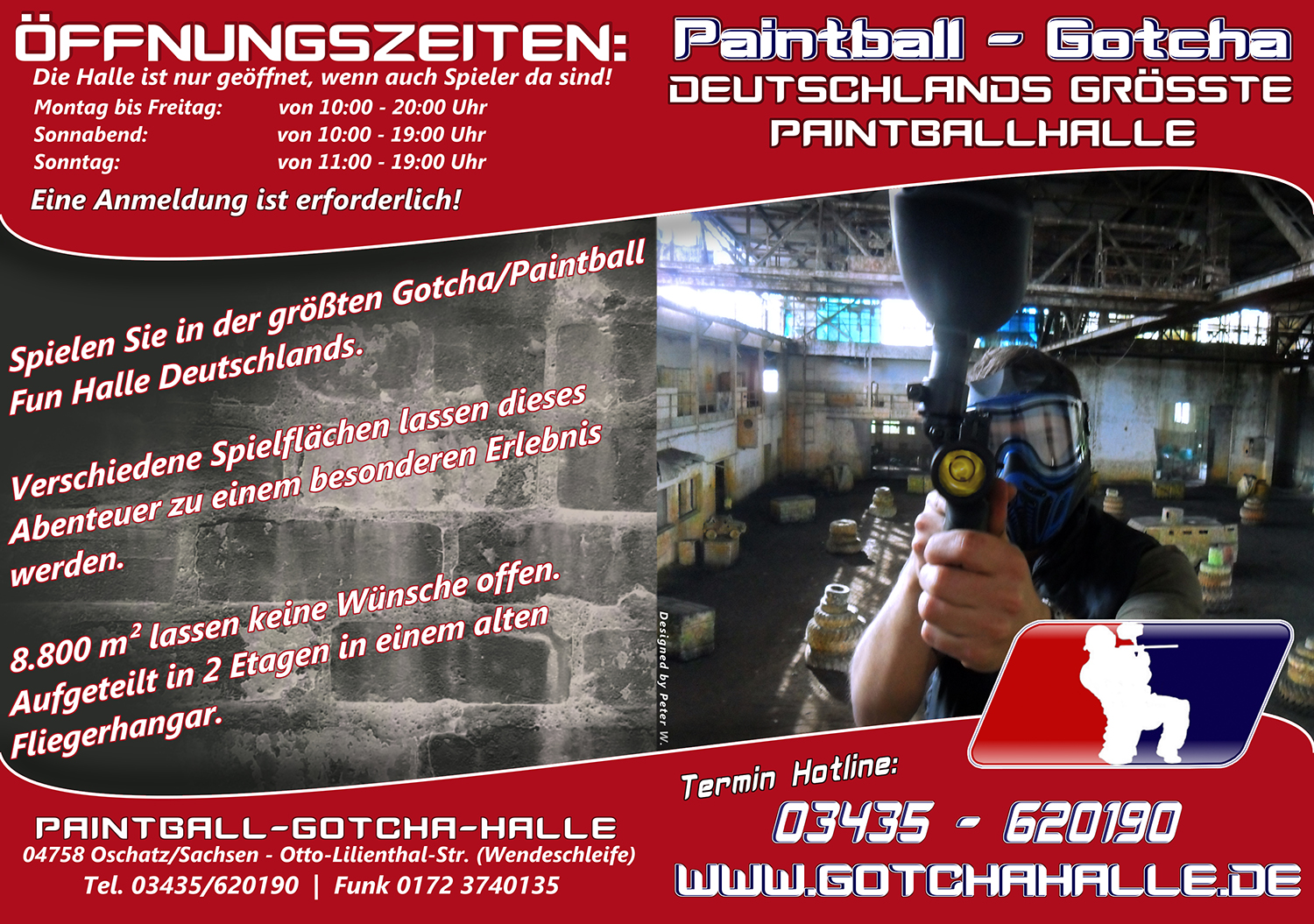Flyer der Paintballhalle Oschatz